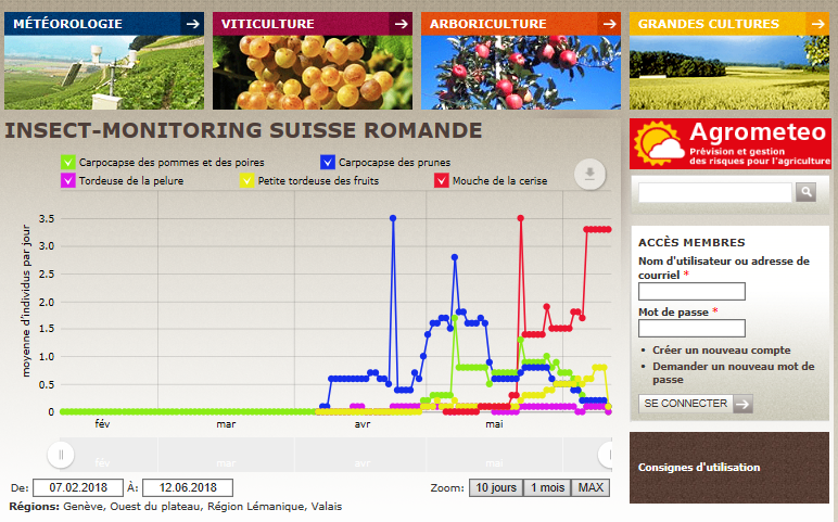Agrométéo monitors the population growth rates of harmful insects in crops in the Romandie.