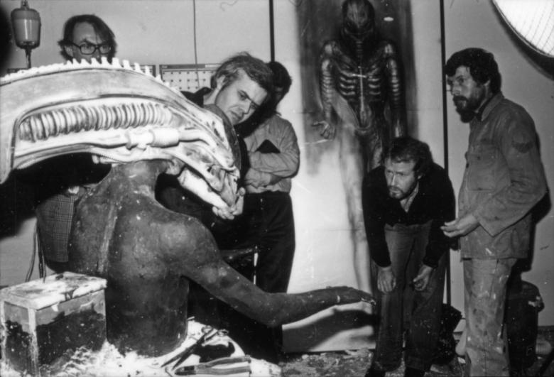 HR Giger and his Alien creature. 1979