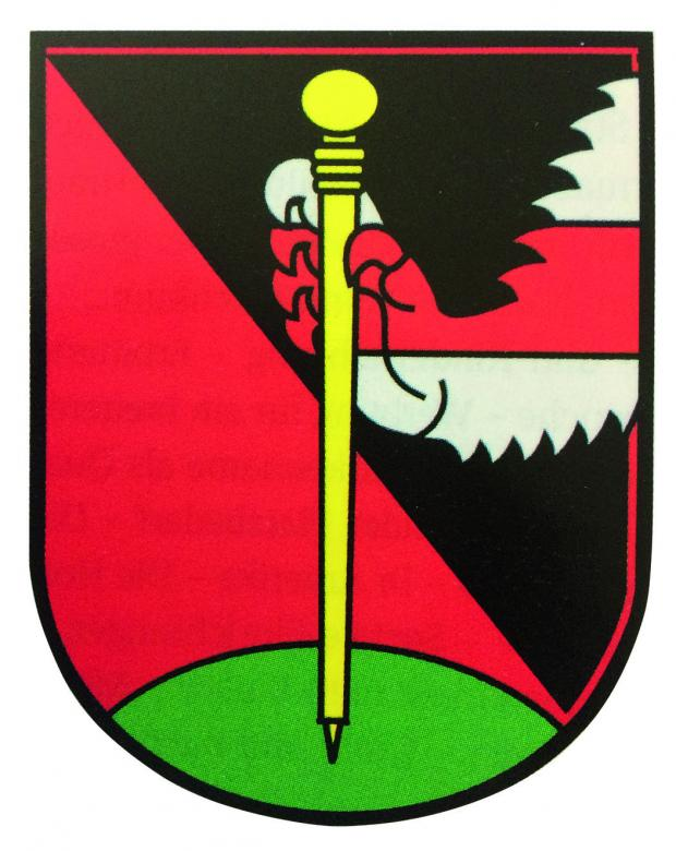 Wander's coat of arms. As a new member of the Bernese Burgergemeinde, Wander had a family coat of arms designed: the Bernese colours, a staff and a lion's paw, which features in the coat of arms of Hesse, in reference to Wander's German origins. © Burgergemeinde Bern