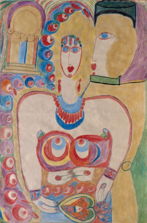Cloisonné de Théâtre (detail, 1951) – Aloïse Corbaz – Eternod and Mermod Collection, on loan to LaM (Villeneuve d'Ascq)