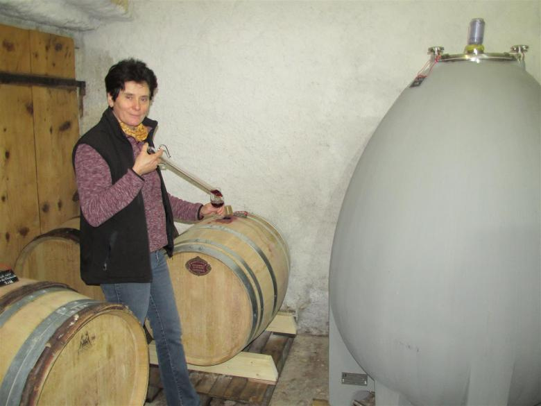 Chantal Ritter Cochand in her wine cellar in Landeron, canton of Neuchâtel