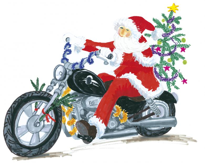 Santa Claus on Harley Davidson