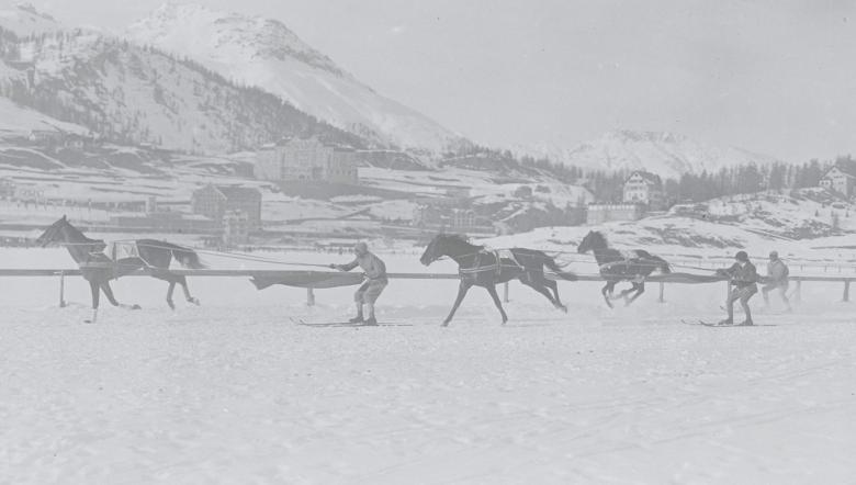 Skijoring, a demonstration sport at the 1928 Olympic Games in St Moritz © IOC