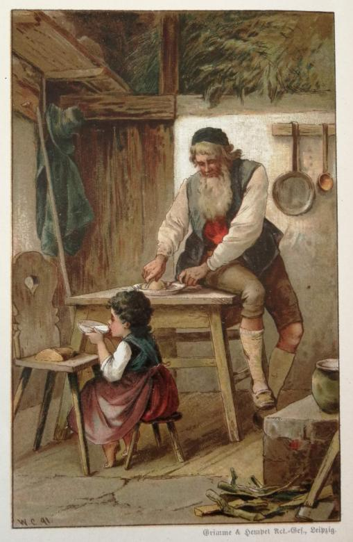 Heidi and her grandfather. Illustration by Wilhelm Claudius in the Heidi edition of 1889. © Johanna Spyri-Archive, SIKJM, Zurich