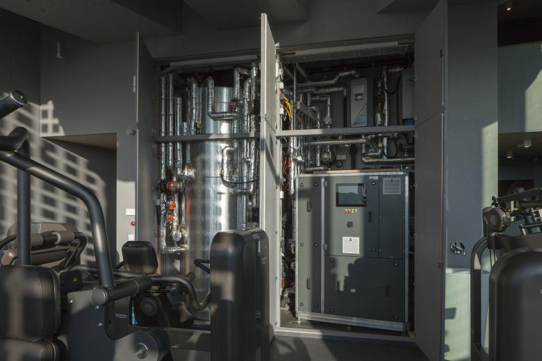 Le coeur de l'innovation: Pompe à chaleur de CO2 et réservoir de stockage © Empa / Reinhard Zimmermann