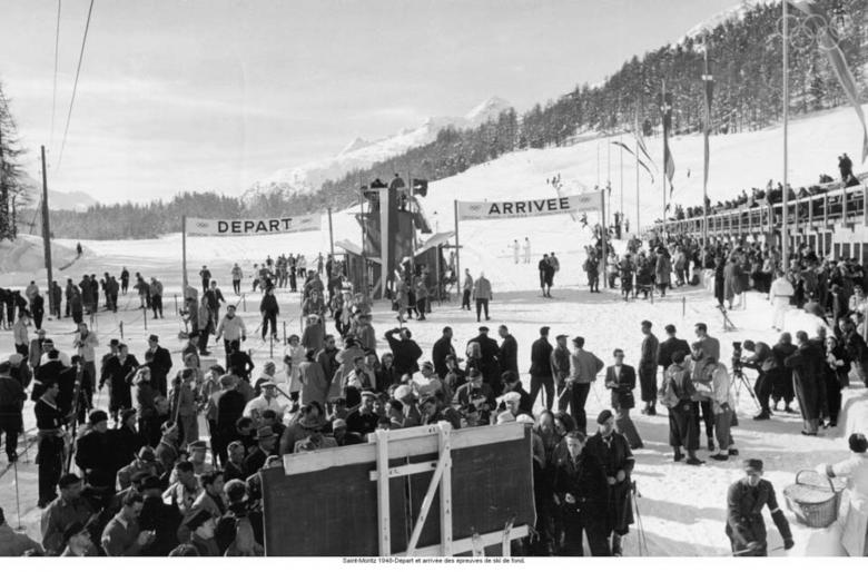 Start and finish of the cross-country skiing competitions at the 1948 Olympic Games in St Moritz © IOC