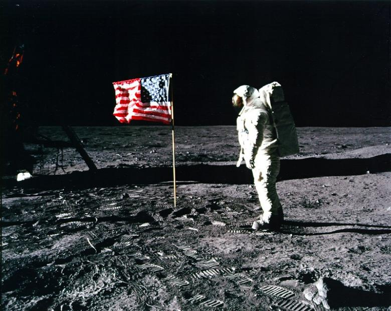 It was the Kern objectives that immortalized the giant steps of the two men during President Nixon's call and salute him to the American flag. (NASA)