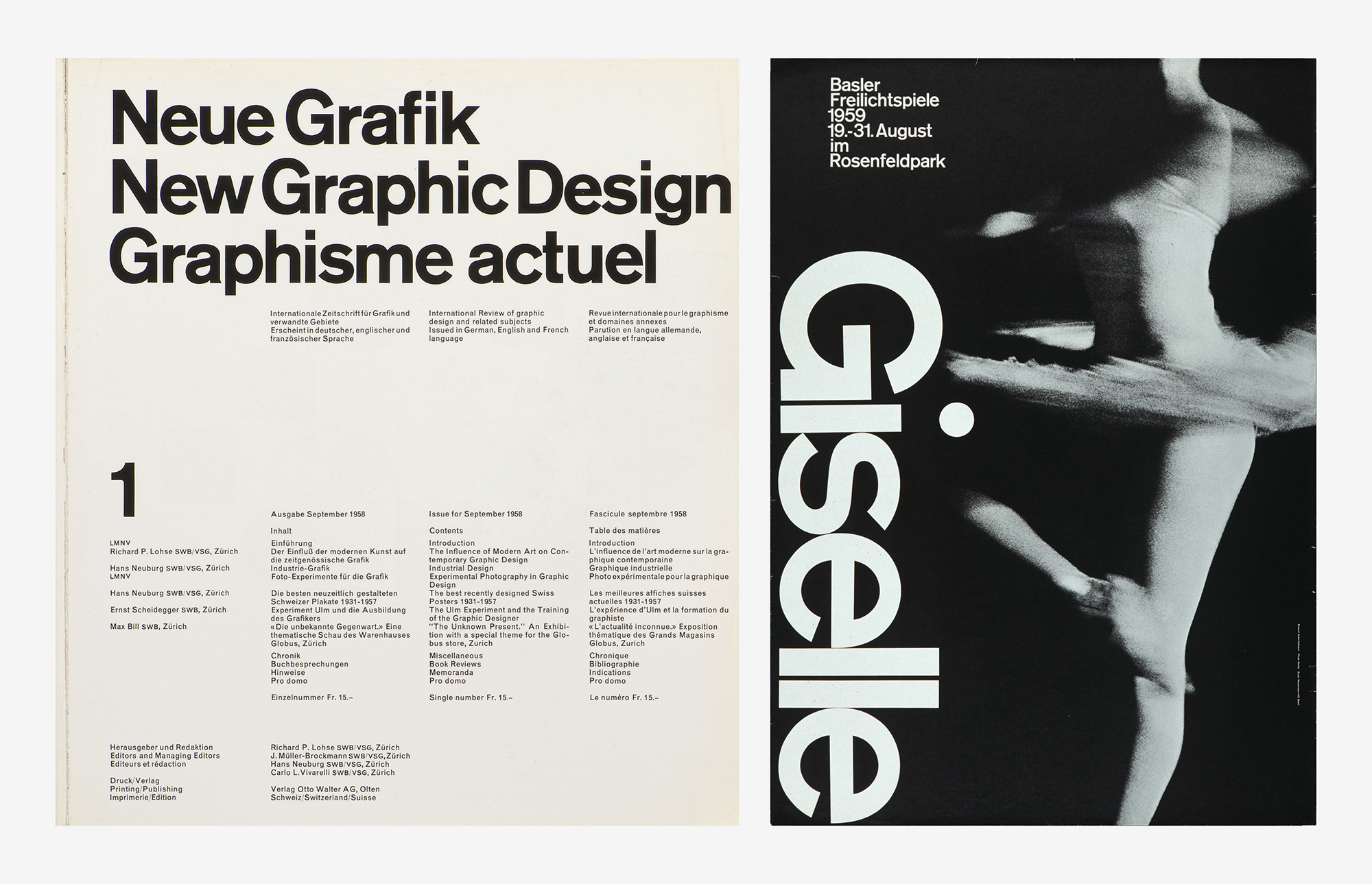 1. Carlo Vivarelli, New Graphic Design, magazine cover and layout, Otto Walter AG publishing house, Olten, 1958, rotogravure print, Museum für Gestaltung Zürich, graphics collection, © Franco Mario Fornasier. 2. Armin Hofmann, Giselle – Basler Freilichtspiele (Basel Open Air Theatre), poster, 1959, offset, photo: Paul Merkle, Museum für Gestaltung Zürich, poster collection, © Matthias Hofmann, Lucerne