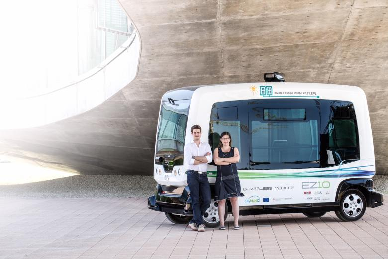 4.	Bestmile co-founders Anne Mellano and Raphaël Gindrat with the first autonomous shuttle of EPFL