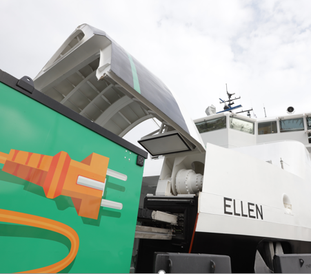 The batteries of fully electric-powered ferry Ellen are recharged in 30 to 60 minutes