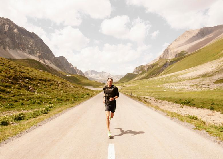 On's Co-Founder Olivier Bernhard running in his home mountains, the Swiss Alps