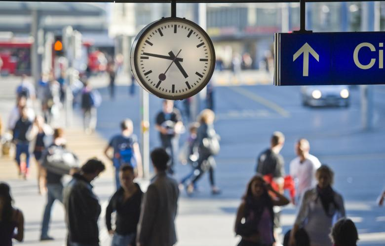Mondaine clocks can be found in Switzerland's 800 train stations (pictured in Bern)