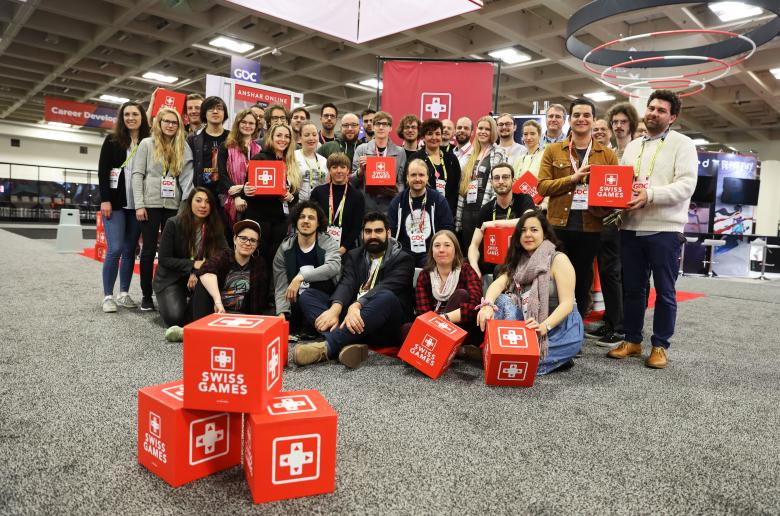 SwissGames delegation at Swiss Pavilion - GDC 2019 - Photo by Riccardo Ferraris