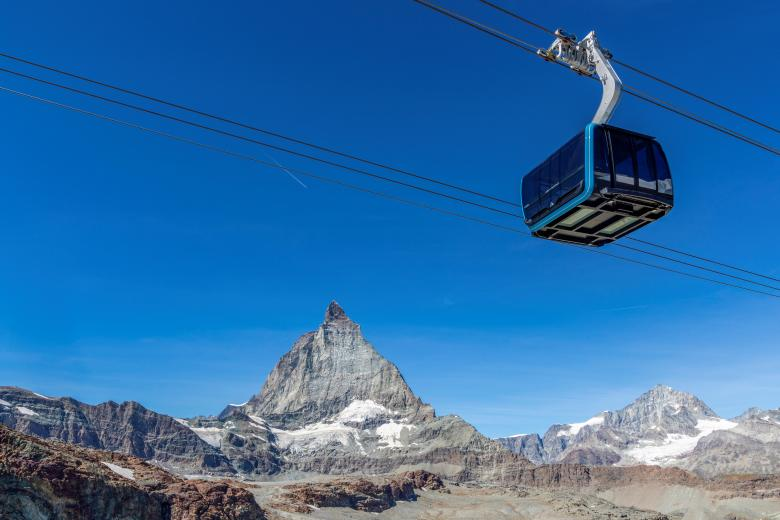 """Crystal Ride"" gondola in front of the Matterhorn, Zermatt"