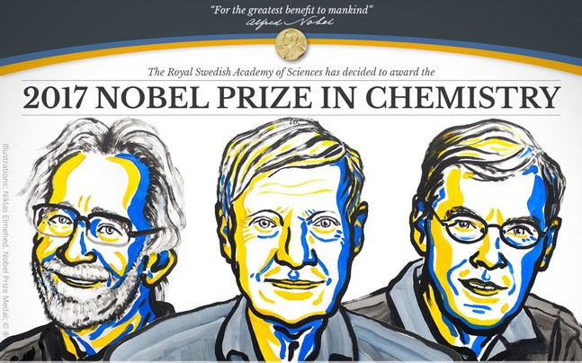 The Nobel Prize in Chemistry was awarded to Jacques Dubochet, Joachim Frank and Richard Henderson for their work in developing technology that allows for the capture of extremely high-resolution images of biomolecules.