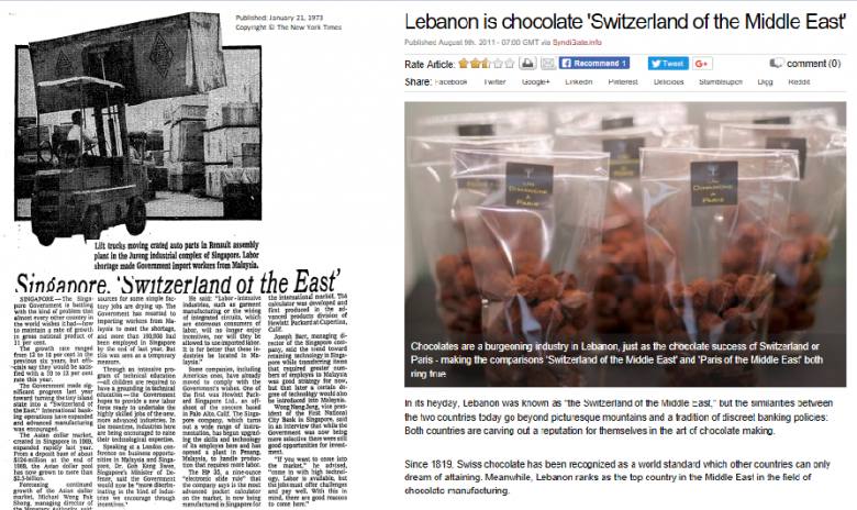 Newspaper clippings describing Singapore as the Switzerland of the the East (Published: 21st January 1973 ©The New York Times) and Lebanon as the Switzerland of the Middle East (Published: 9th August 2011 by albawaba, ©Syndigate)