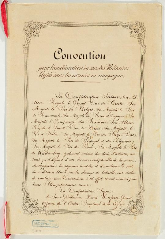 First page of the Geneva Convention of 22th August 1864 © ICRC archives (ARR)