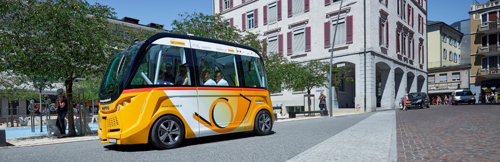 Self-driving shuttle operated by PostBus. © PostBus