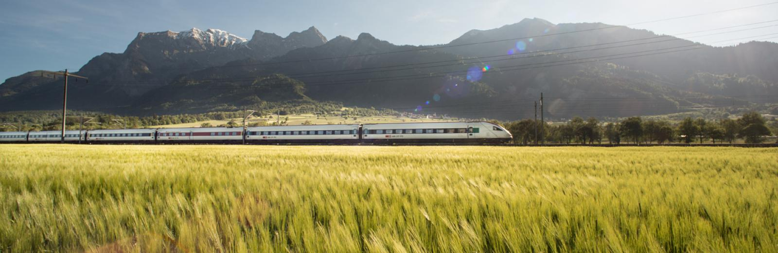 train in Swiss countryside
