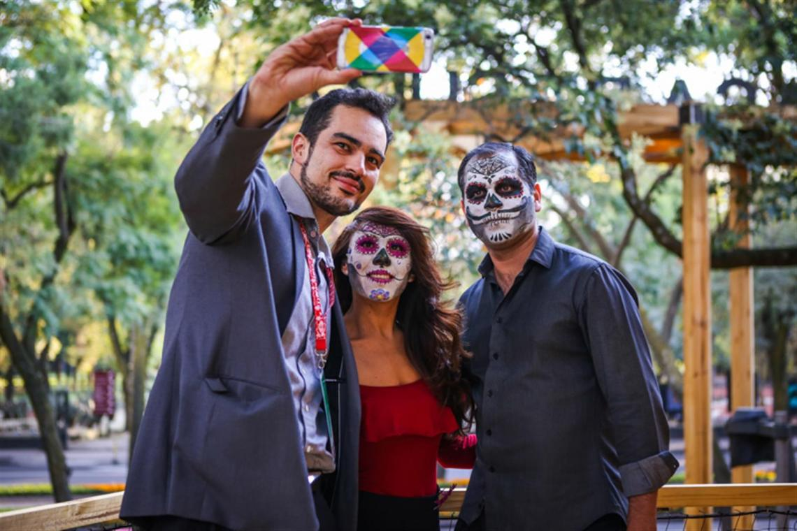 Visitors during the Day of the Dead festival