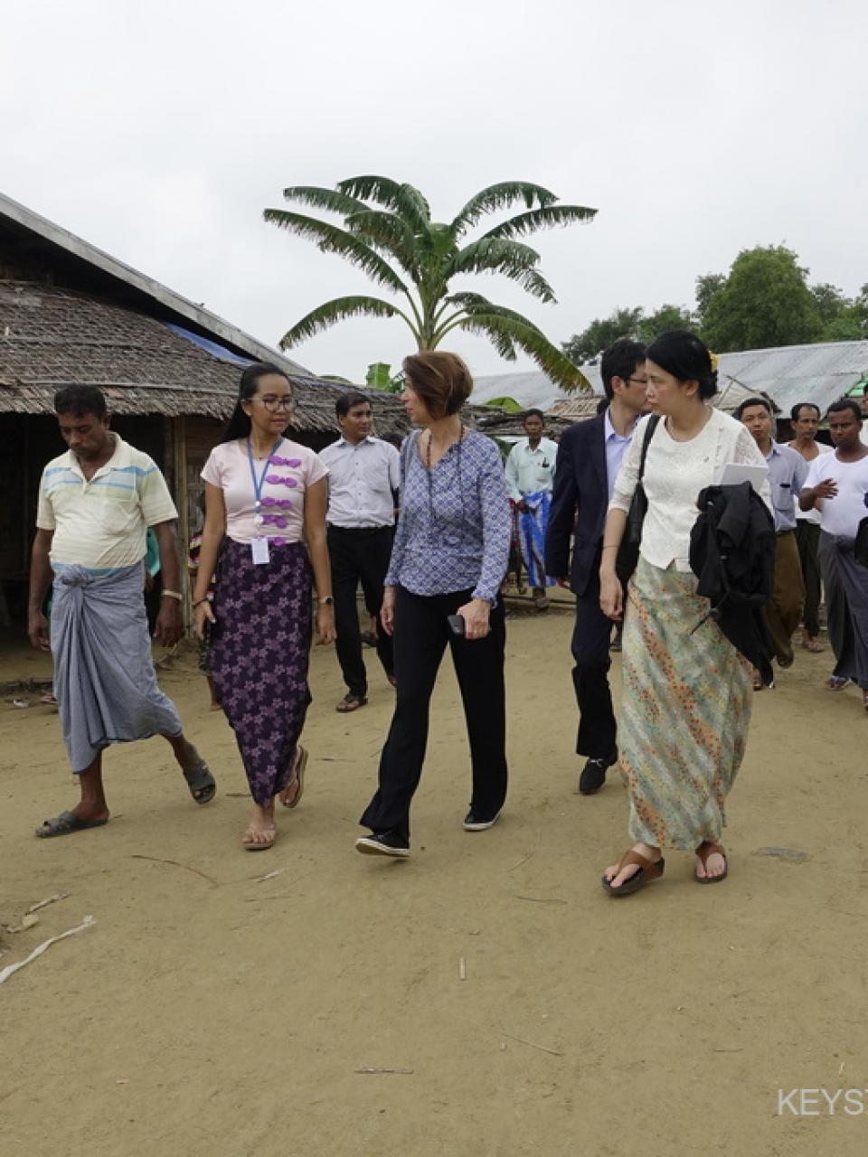 Christine Schraner Burgener visits the Thet Kel Pyin Muslim Internally Displaced Persons camp in Sittwe, Rakhine State, Western Myanmar (2018)