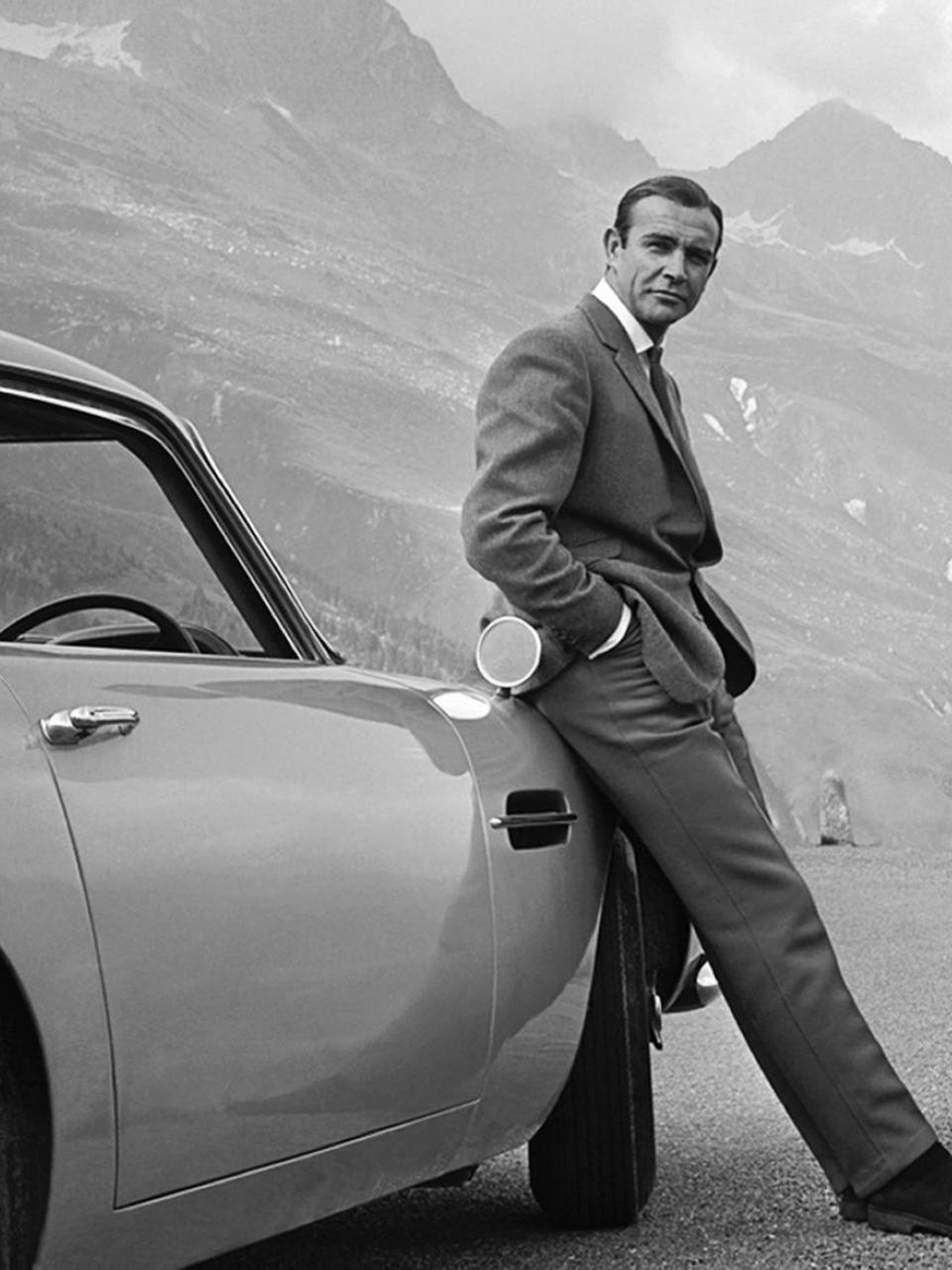 James Bond aka 007 on his quest to hunt down Goldfinger in his Aston Martin DB5 in Switzerland.