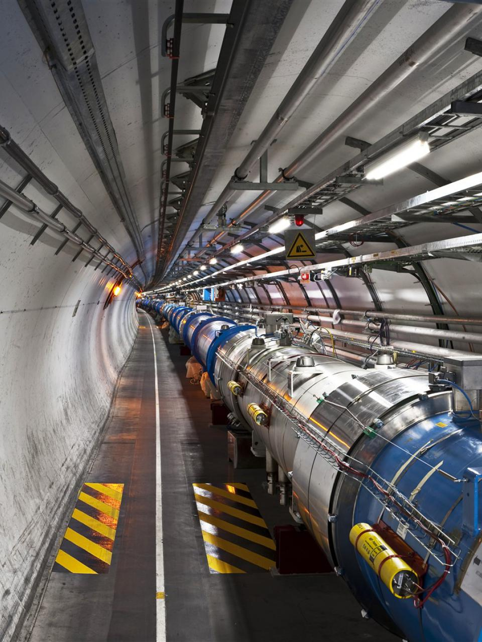 The tunnel of the Large Hadron Collider (LHC).